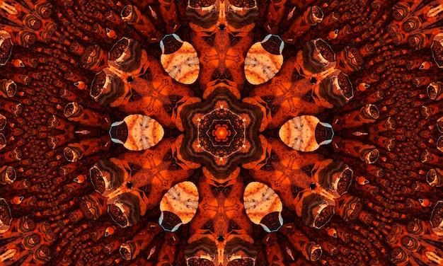 생강 그루비 만화경은 둥근 만화경 빛나는 요소가 있는 추상 원활한 패턴입니다.