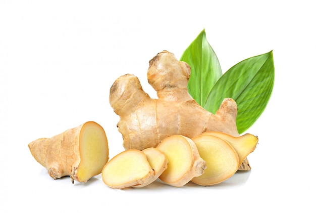 Ginger herb with leaf on white