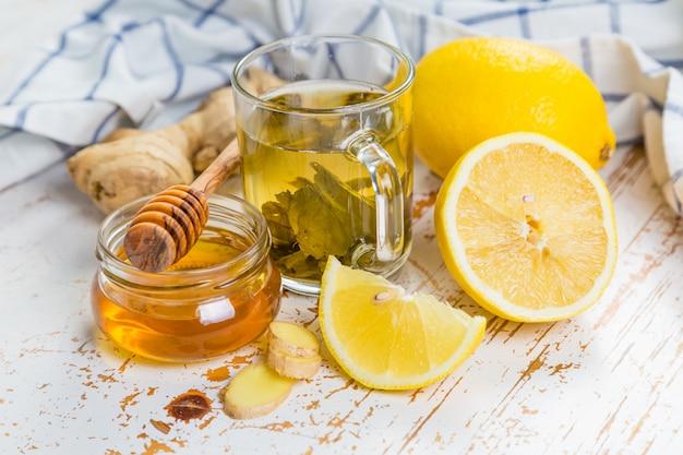 Ginger and lemon tea with honey