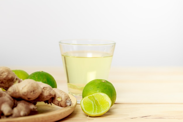 Ginger and lime, herbal drink ingredients ginger juice mixed with lime, prevent flu and covid-19