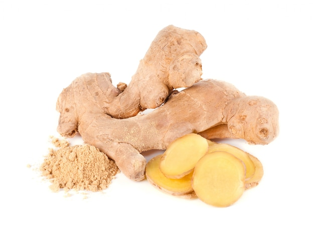 Ginger root and ground ginger isolated on white space. close up