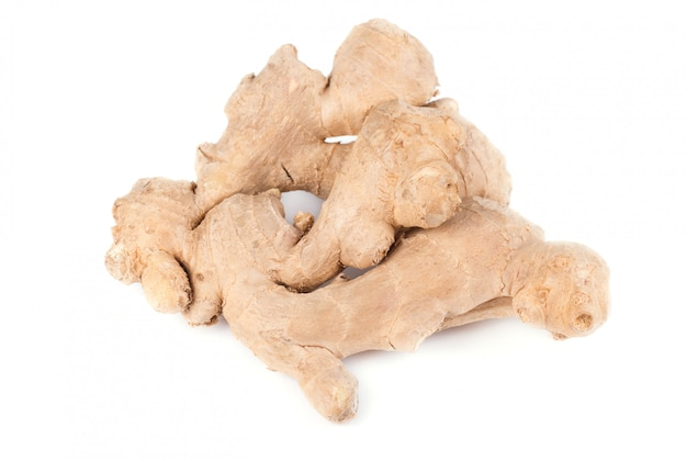 Ginger root isolated on white space. close up