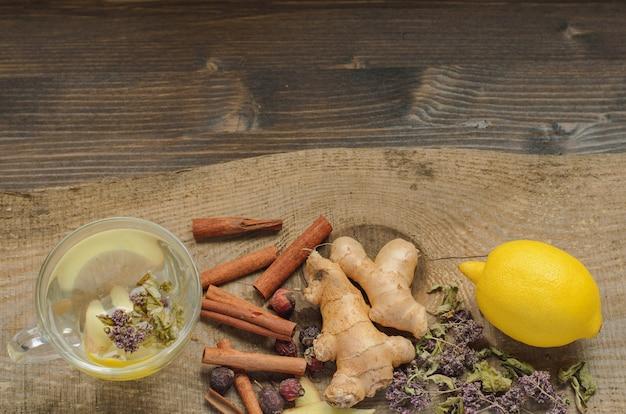 Ginger tea lemon with herbs and cinnamon