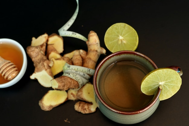 Ginger tea with honey lemon
