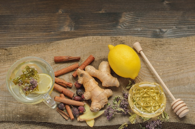 Ginger tea with lemon, herbs and cinnamon, alternative treatment for cold and flu
