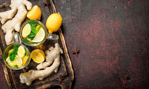 ミントと柑橘類のジンジャーティー