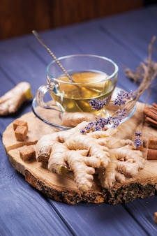 Ginger tea in wooden table