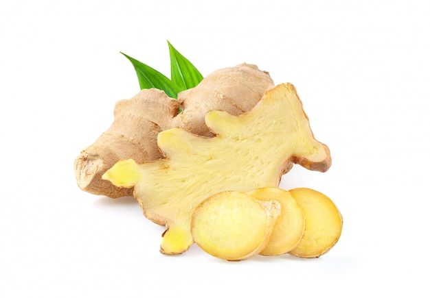 Ginger with leaves isolated on a white  background