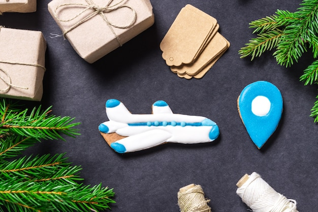 Gingerbread airplane, christmas concept