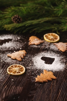 Gingerbread cookies in christmas fir-tree and heart shape, powdered sugar on wooden table, citrus dried fruits, fir tree branch, angle view, selective focus