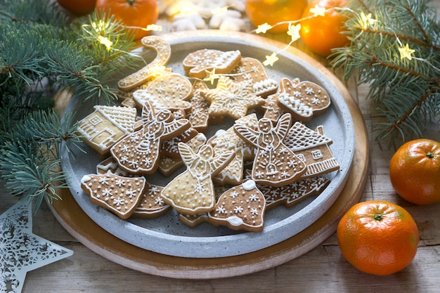 Gingerbread cookies on a concrete tray