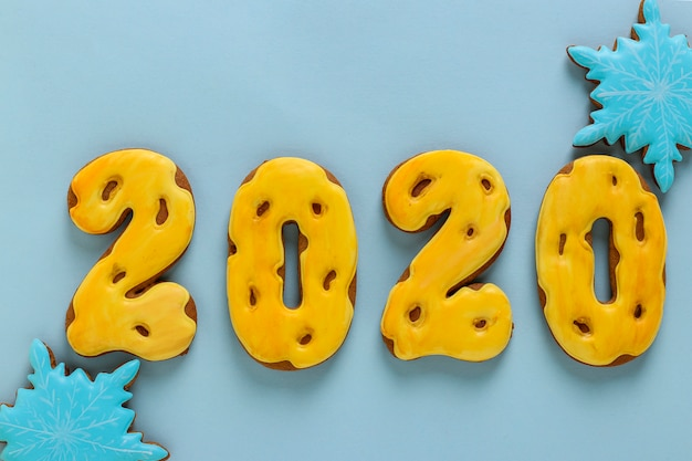 Gingerbread cookies in the form of numbers 2020, gifts christmas or noel holiday, happy new year