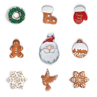 Gingerbread cookies isolated on white.