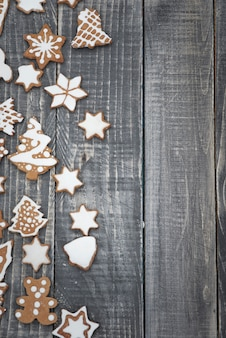 Gingerbread cookies on the old wood