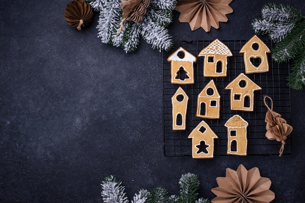 Gingerbread cookies in shape of houses