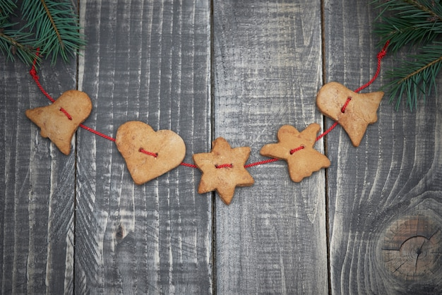 Gingerbread cookies on wooden planks