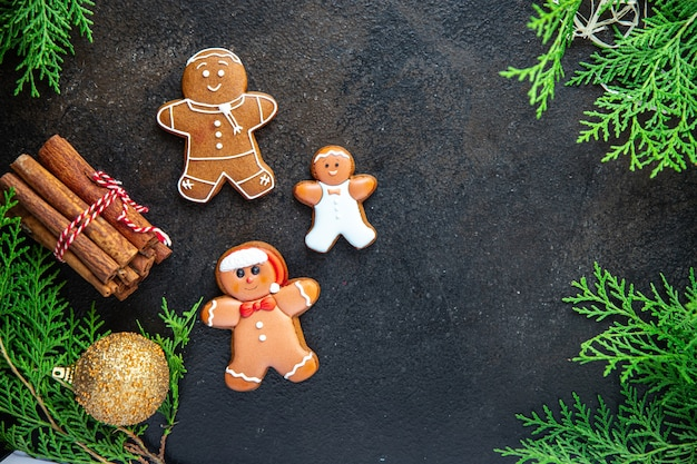 Gingerbread dessert cookie christmas sweet treat new year meal snack on the table copy space food