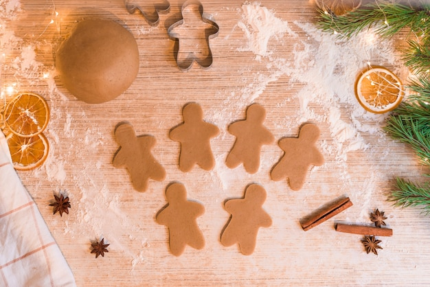 Gingerbread at home. the process of making gingerbread festive