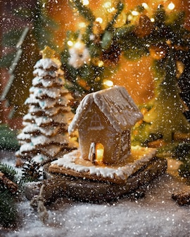 Gingerbread house in a fairy winter forest