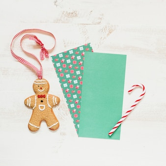 Gingerbread man and candy cone with space for santa claus letter