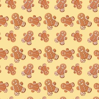 Gingerbread man christmas seamless pattern
