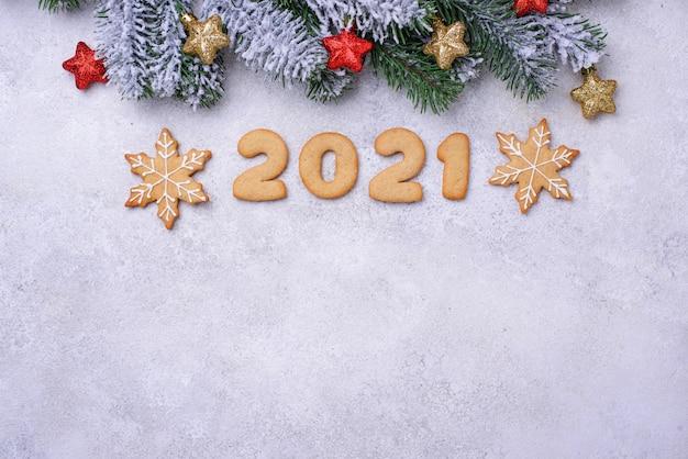 숫자 2020 모양의 진저 브레드 새해 쿠키