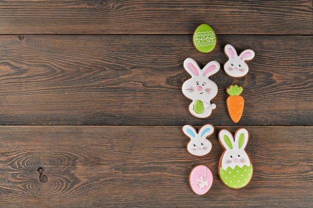 Gingerbread in shape of easter bunny, eggs and carrots