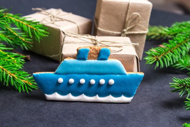 Gingerbread ship, christmas concept