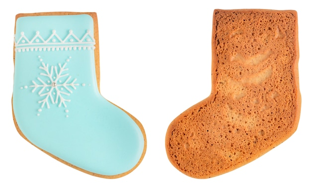 Gingerbread sock isolated on white