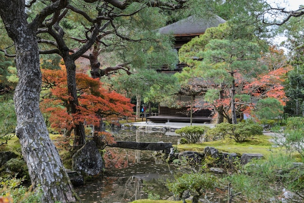 Ginkakuji temple or temple of the silver pavilion during autumn colors in kyoto, japan