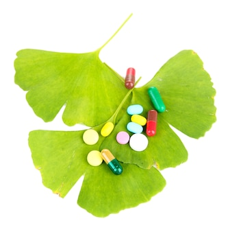 Ginkgo biloba leaves and pills on white
