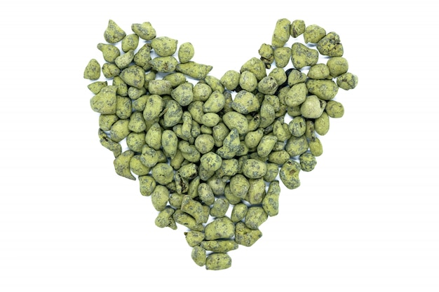 Ginseng oolong tea, heart-shaped, close up, isolated.