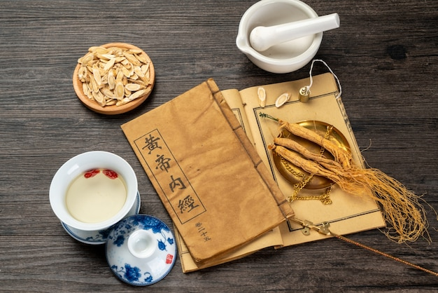 Ginseng and traditional chinese medicine on the table