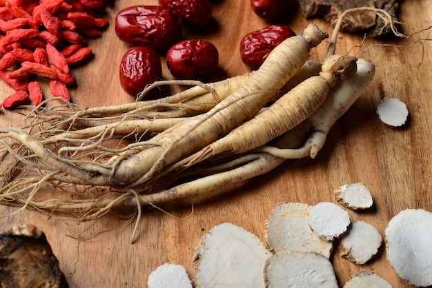 Ginseng, wolfberry and jujube are in the wooden plate