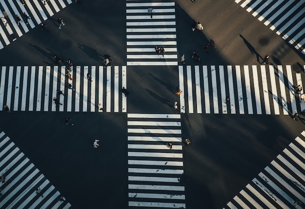 Крест гинза в токио. вид сверху Premium Фотографии