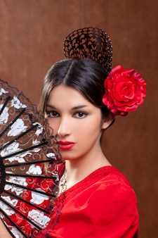 Gipsy flamenco dancer spain girl with red rose