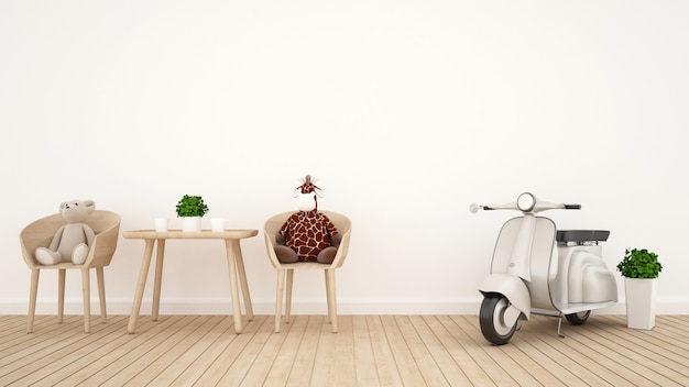 Giraffe doll with bear doll and vintage motorcycle in kid room - 3d rendering