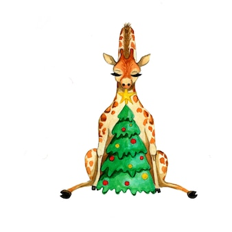 キリンのイラスト。新年のプリント。木