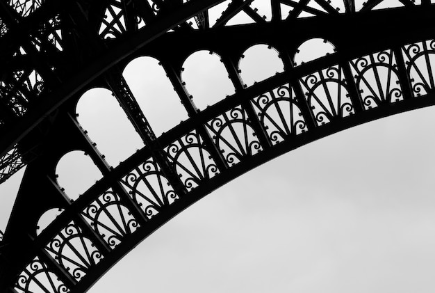 Girders of the eiffel tower in paris france
