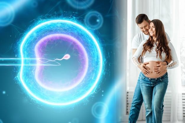 Девушка и искусственное оплодотворение яйца. хирургическое введение спермы в яйцеклетку. беременность, лечение бесплодия, материнство, спермограмма.