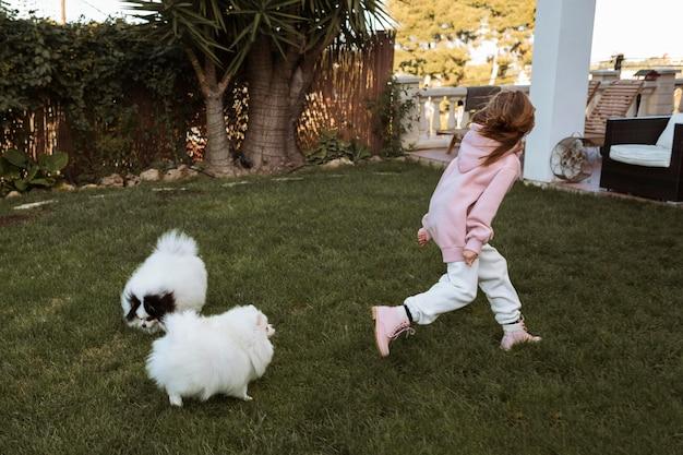 Девушка и собаки бегают и играют