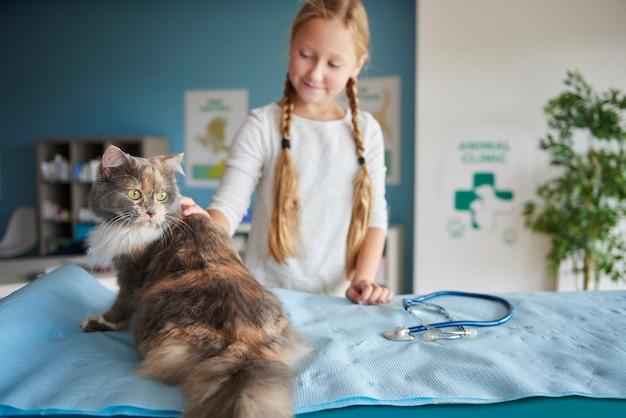 獣医の女の子と彼女の猫