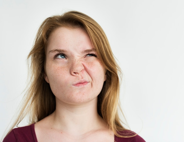 Girl annoyed face expression portrait