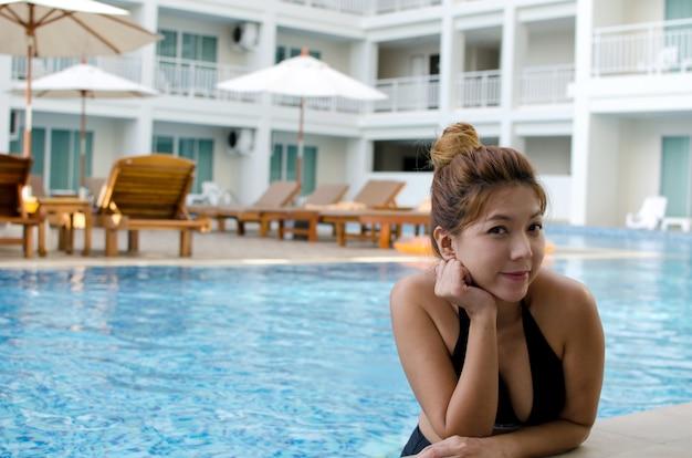 Girl asian swimming pool