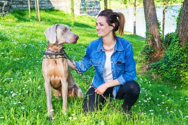 犬のワイマラナーと公園で女の子