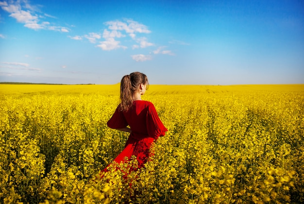Girl in a beautiful red dress is standing in a yellow box