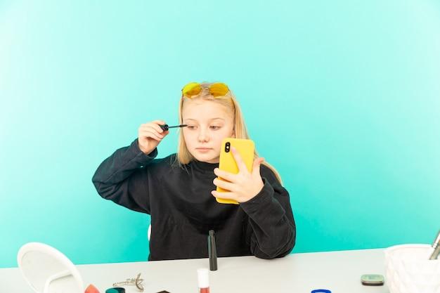 Girl beauty blogger making vlog isolated