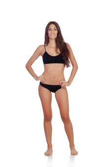 Girl in black underwear isolated