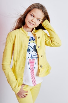 Girl bright summer look beautiful clothes.