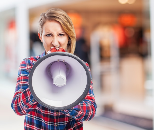 Girl brunette talking voice business